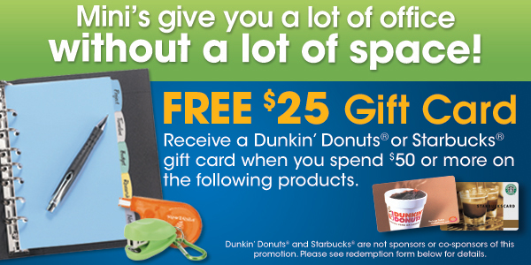 $25 Starbucks or Dunkin' Donuts Gift Card