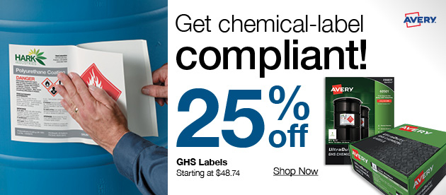 25% off GHS labels + huge deals on office products, cleaning & more!