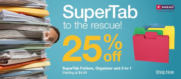 25% OFF SuperTab filing + deals on paper, boards, sanitation & more
