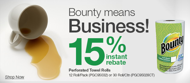 Up to 30% off Bounty, breakroom & more!