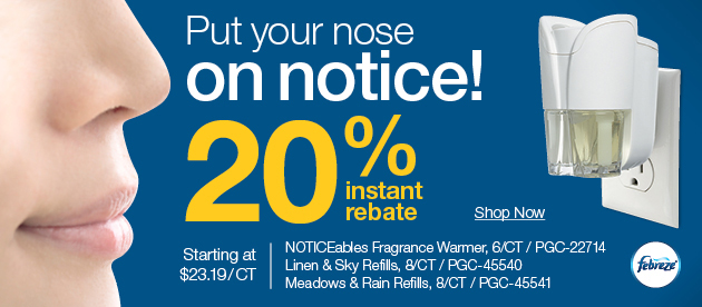FREE $25 VISA gift card + up to 30% off fragrance warmers, office supplies, and facilities maintenance!