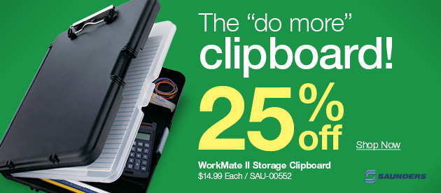 25% off super storage clipboard, 30% off self-laminating badges + deals on batteries, personal protection & more!